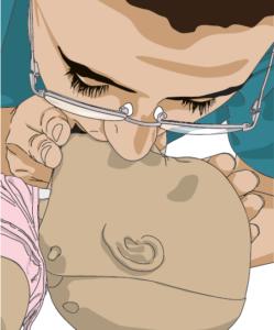 Baby CPR rescue breaths diagram